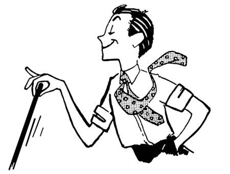 waiving: A black and white version of a cartoon style image of a man delicately waiving a cane