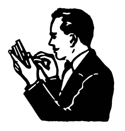 A black and white version of a graphical illustration of a man counting his pennies
