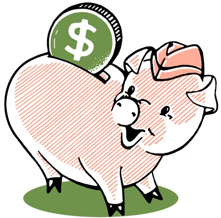 A happy looking piggy bank with a large dollar photo