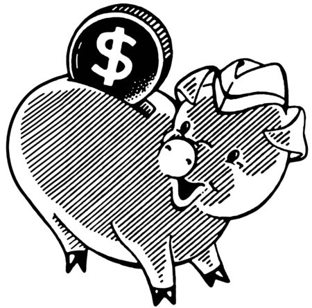 A black and white version of a happy looking piggy bank with a large dollar photo