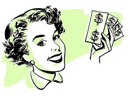 Een grafische portret van een vrouw met proppen van contant geld
