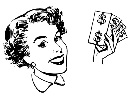 A black and white version of a graphical portrait of a woman with wads of cash