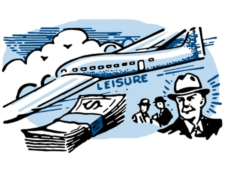 A graphical illustration of a man with a wad of cash and an airplane Stock Illustration - 14918300