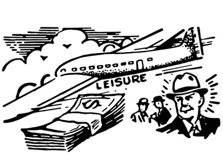 wad: A black and white version of a graphical illustration of a man with a wad of cash and an airplane Stock Photo