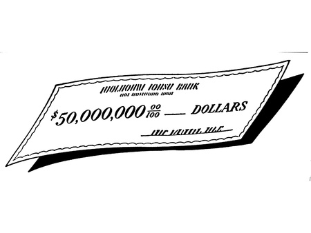 cheques: A black and white version of a check written out for a large sum