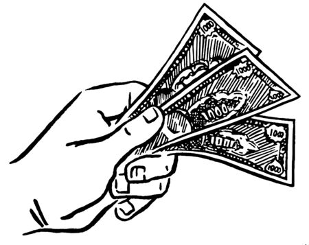 A black and white version of a fist of money Stock Photo - 14918293