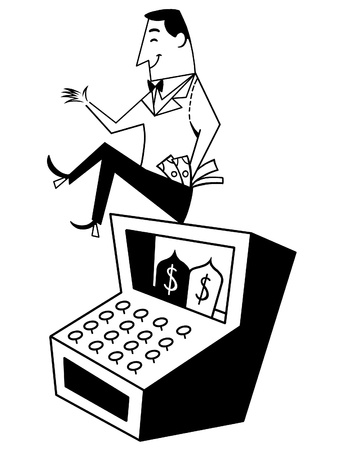 A black and white version of a pleased businessman atop a cash register photo