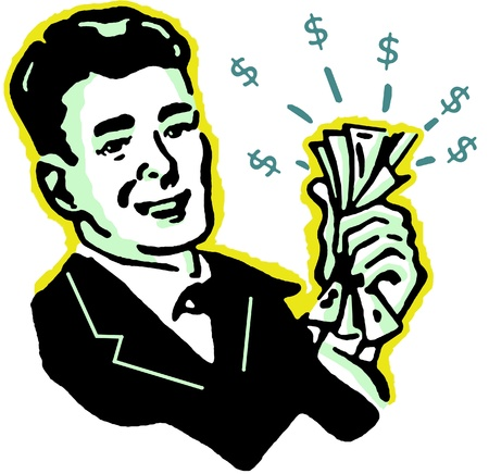wealthy man: A graphical illustration of a man with wads of cash