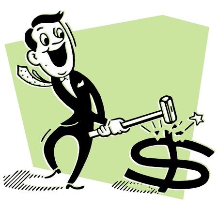 A cartoon style drawing of a businessman smashing a dollar symbol