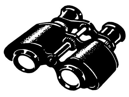 A black and white version of a vintage pair of binoculars Zdjęcie Seryjne