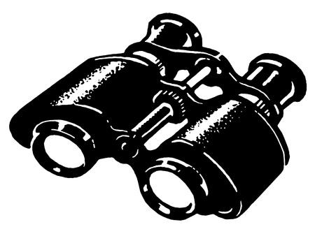 A black and white version of a vintage pair of binoculars Stock fotó
