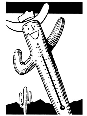 A black and white version of a cactus thermometer photo