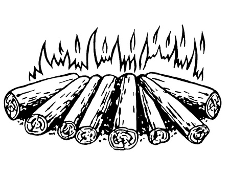 open flame: A black and white version of a log fire Stock Photo