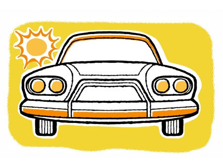 frontal view: A frontal view of a car in the blistering sun Stock Photo