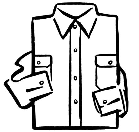 A black and white version of a folded business shirt
