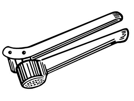 Een zwart-wit versie van een ouderwetse knoflookpers Stockfoto