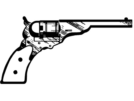 dangerous weapons: A black and white version of a vintage hand gun