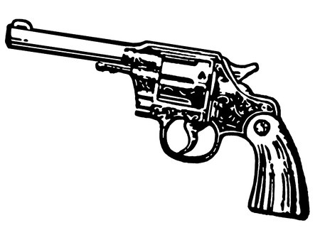 A black and white version of a vintage hand gun photo