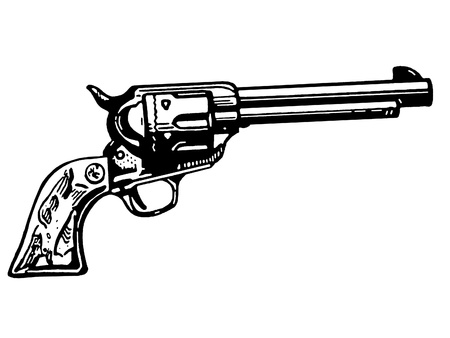 A black and white version of a vintage hand gun