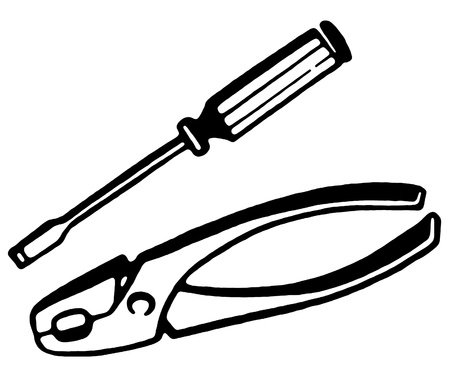 A black and white version of a set of pliers and screwdriver