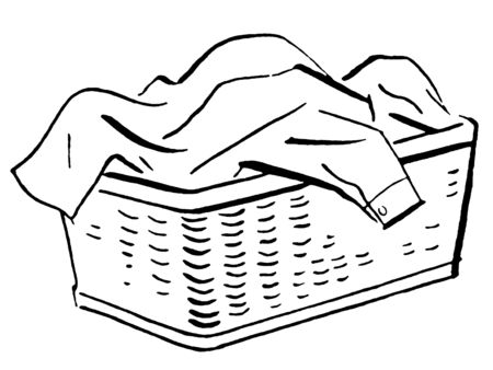 basket: A black and white version of a basket full of laundry Stock Photo