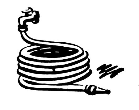 A black and white version of a well wrapped garden hose
