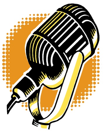 A vintage illustration of a microphone Stock Photo