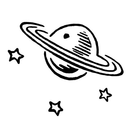 A black and white version of Saturn and three stars