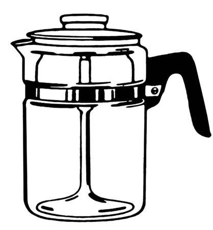 A black and white version of a coffee pot Stock Photo