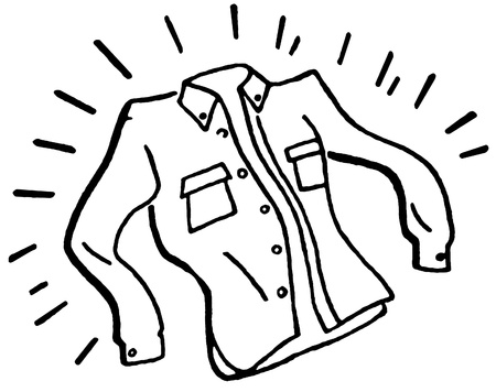 button down shirt: A black and white version of a laundered and ironed business shirt