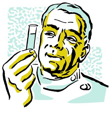 experimenting: A portrait of a Scientist Holding a test tube