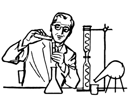 A black and white version of a portrait of a Scientist photo