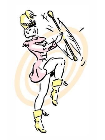 Un retrato de una muchacha realizar girando bastón de mando