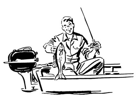 A black and white version of a man on a fishing trip photo