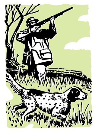 Een man fazant jacht met honden Stockfoto
