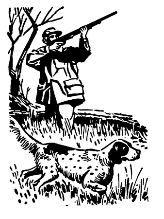 A black and white version of a man pheasant hunting with hounds