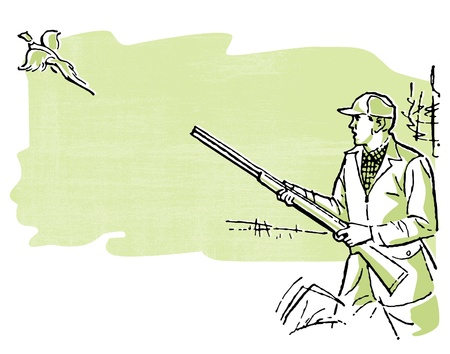 hunters: A man out duck hunting