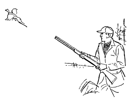 A black and white version of a man out duck hunting