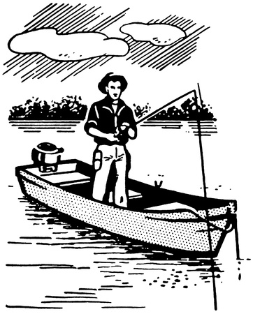 A black and white version of a vintage image of a man fishing photo