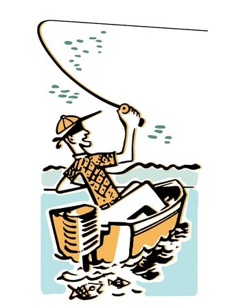 all caps: A cartoon style image of a man fishing