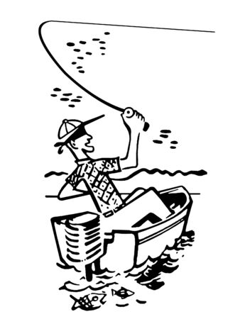 all caps: A black and white version of a cartoon style image of a man fishing