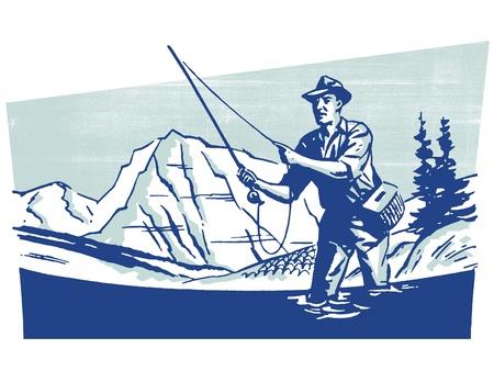 hombre pescando: Una imagen del vintage de un hombre pesca Foto de archivo