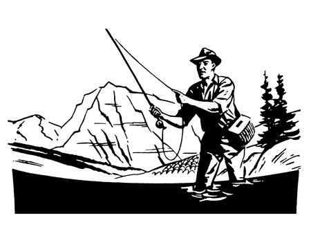 A black and white version of a vintage image of a man fishing