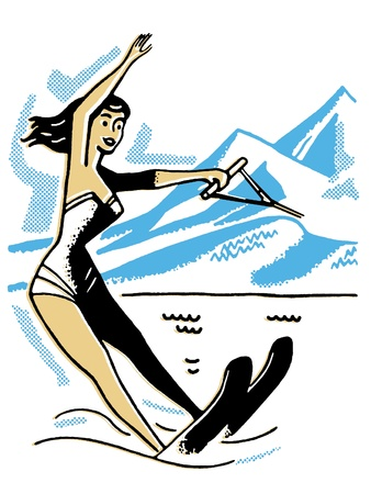 water skiing: A vintage image of a woman water skiing
