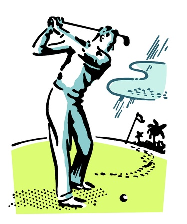 A vintage illustration of a man playing golf Stock Illustration - 14917885