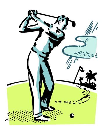 golfer swinging: A vintage illustration of a man playing golf