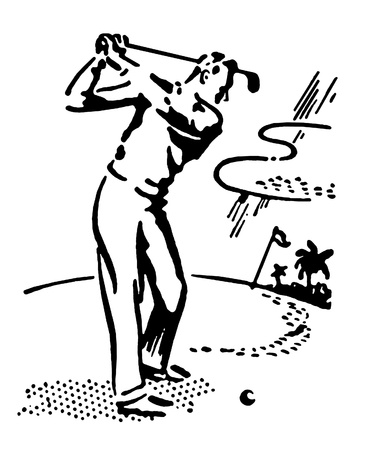 A black and white version of a vintage illustration of a man playing golf