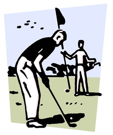 An illustration of a man playing golf Stock Illustration - 14917354