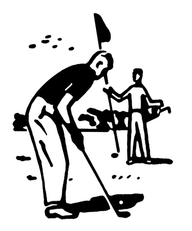 A black and white version of an illustration of a man playing golf illustration
