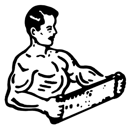 A black and white version of an illustration of a very muscular man illustration
